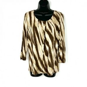 Chicos Brown Metallic Gold Knit Pullover Top Sz 1